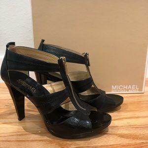 Michael Kors Shiny Black Gladiator Heels (6.5)
